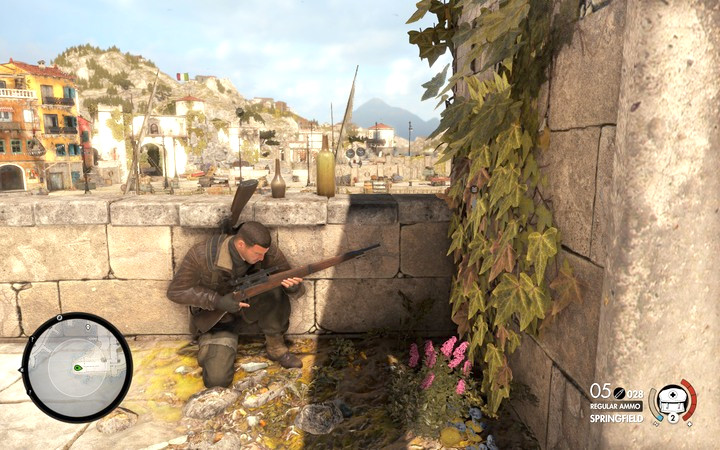 From here you can fire two shots to eliminate two guards on the roofs - Mission information | Mission 2: Bitanti Village - Mission 2: Bitanti Village - Sniper Elite 4 Game Guide