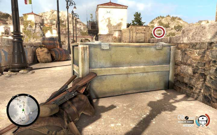 Hostile sniper located in the tower - Obtaining the sniper reports | Mission 2: Bitanti Village - Mission 2: Bitanti Village - Sniper Elite 4 Game Guide