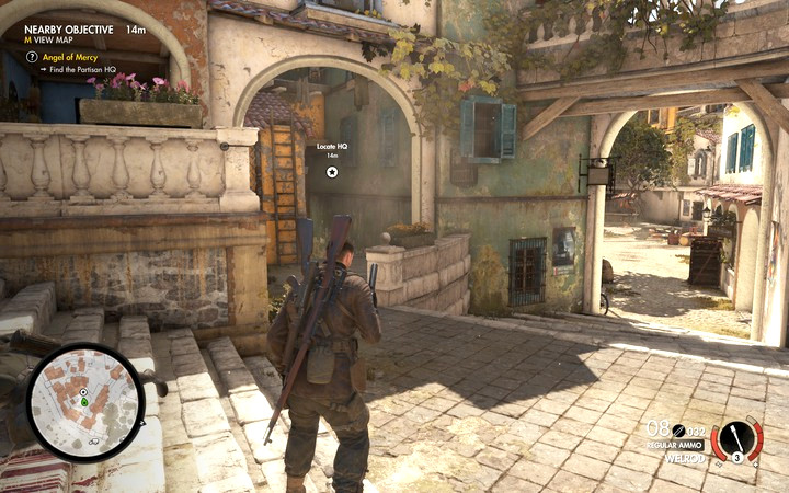 The main quarters can be found in front of the main courtyard (M2 - Finding Partisan HQ | Mission 2: Bitanti Village - Mission 2: Bitanti Village - Sniper Elite 4 Game Guide