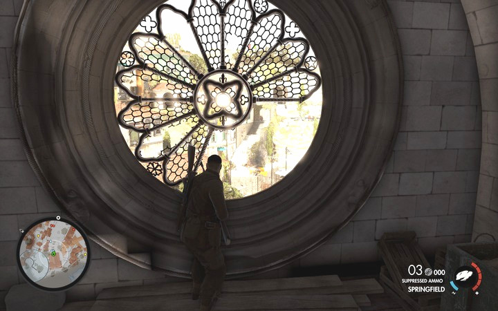The church window gives a full view of the entire courtyard and will let you hide from hostile fire - Finding Partisan HQ | Mission 2: Bitanti Village - Mission 2: Bitanti Village - Sniper Elite 4 Game Guide