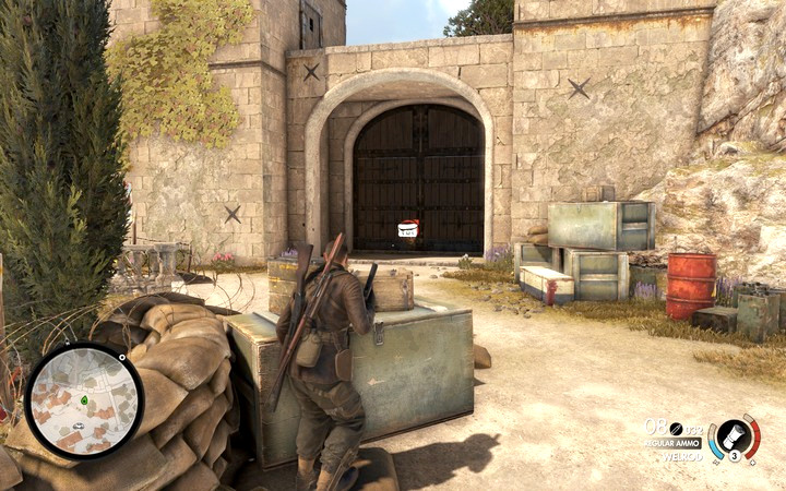 Blow up the main gate to get to the castle - Finding Partisan HQ | Mission 2: Bitanti Village - Mission 2: Bitanti Village - Sniper Elite 4 Game Guide