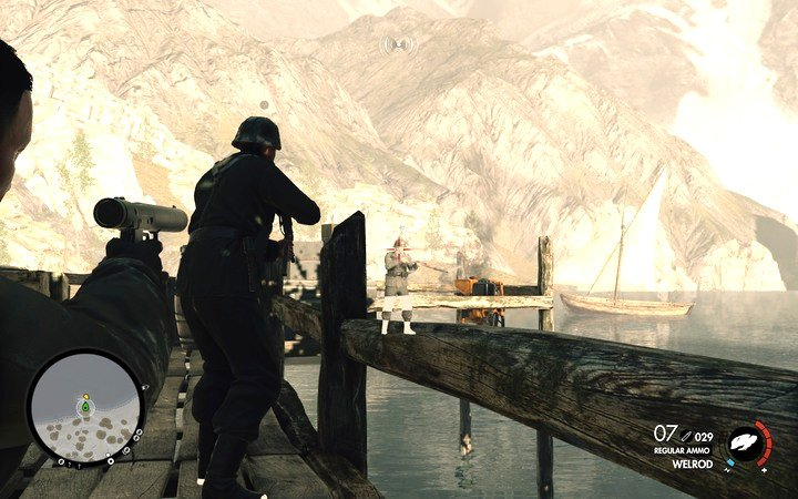 There are two guards on the pier - shoot one of them and kill the other one with melee attack - Clearing checkpoints | Mission 3: Regilino Viaduct - Mission 3: Regilino Viaduct - Sniper Elite 4 Game Guide
