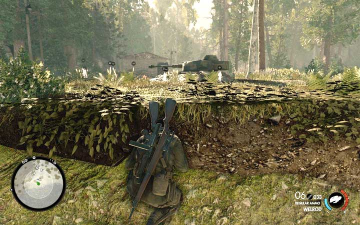 Turret - as long as the man inside does not spot you, it will be turning in random directions every several seconds - Clearing checkpoints | Mission 3: Regilino Viaduct - Mission 3: Regilino Viaduct - Sniper Elite 4 Game Guide