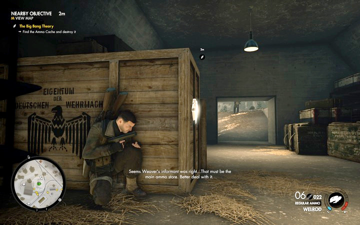 Inside the bunker, there is a big ammo cache - you do not have to get away to a large distance. Simply, leave the room. - Finding the cache and the ammo truck | Mission 3: Regilino Viaduct - Mission 3: Regilino Viaduct - Sniper Elite 4 Game Guide
