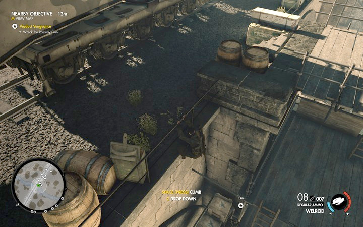 As you walk towards the base, you simply have to jump down the scaffolding. Opponents patrol along lower levels - Blowing up the bridge with the cannon on rails | Mission 3: Regilino Viaduct - Mission 3: Regilino Viaduct - Sniper Elite 4 Game Guide