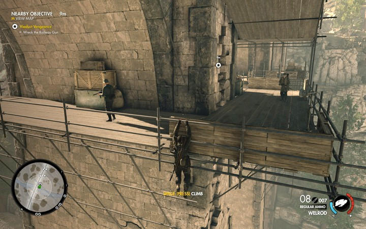 In the spots, where there are planks on wailings, you can hang off them and jump up to kill the enemy from behind - Blowing up the bridge with the cannon on rails | Mission 3: Regilino Viaduct - Mission 3: Regilino Viaduct - Sniper Elite 4 Game Guide