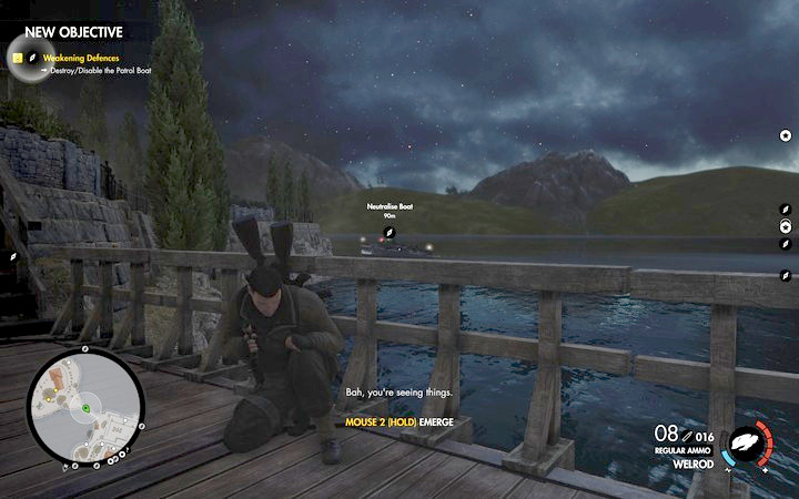 The objective connected with the boat activates only after you come close enough or mark it - Kill Rothbauer | Mission 7: Giovi Fiorini Mansion - Mission 7: Giovi Fiorini Mansion - Sniper Elite 4 Game Guide