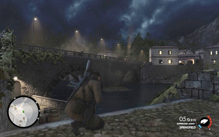 Run onto the bridge, blow up the cannon quickly and leave the island - 1st and 2nd cannon, Rothbauers safe | Mission 7: Giovi Fiorini Mansion - Mission 7: Giovi Fiorini Mansion - Sniper Elite 4 Game Guide