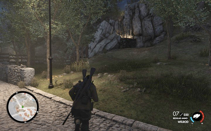 Take the road west. After you climb up the ladder, you will run int a conflict between the Nazis and rebels - 1st and 2nd cannon, Rothbauers safe | Mission 7: Giovi Fiorini Mansion - Mission 7: Giovi Fiorini Mansion - Sniper Elite 4 Game Guide