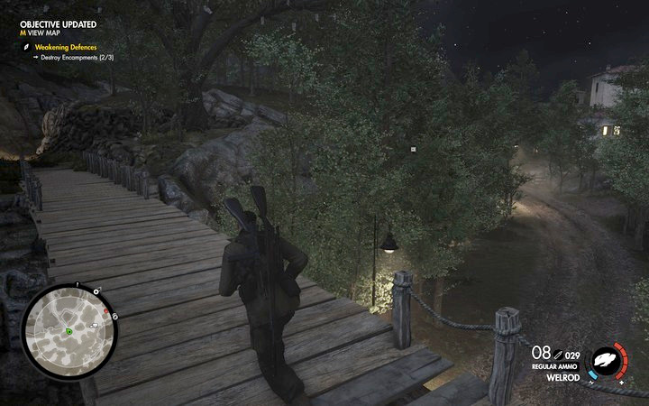 The road at the other side of the wooden bridge is safe - there are no opponents or traps - 1st and 2nd cannon, Rothbauers safe | Mission 7: Giovi Fiorini Mansion - Mission 7: Giovi Fiorini Mansion - Sniper Elite 4 Game Guide
