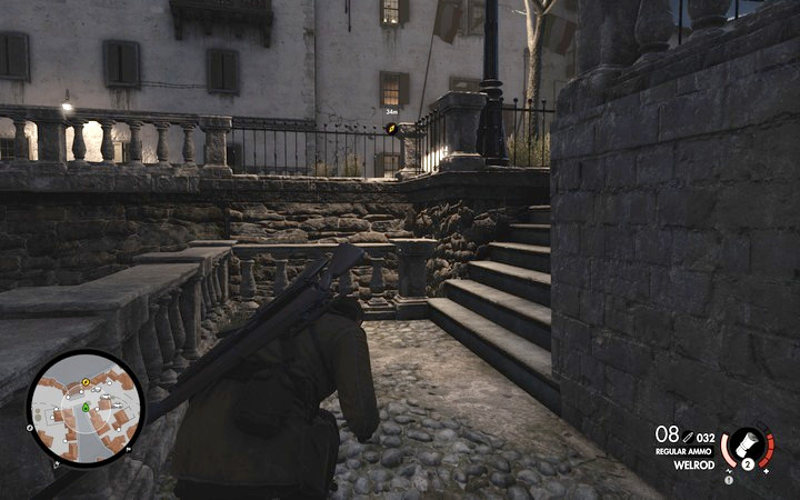 The guard in the building with the map occasionally comes out onto the balcony, so watch out - Propaganda truck, 3rd cannon | Mission 7: Giovi Fiorini Mansion - Mission 7: Giovi Fiorini Mansion - Sniper Elite 4 Game Guide