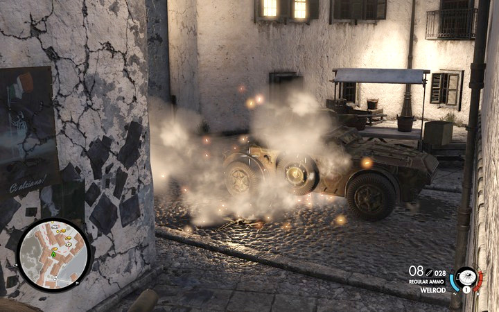 You can immobilize the armored car even with the simplest of traps - this will be enough - Propaganda truck, 3rd cannon | Mission 7: Giovi Fiorini Mansion - Mission 7: Giovi Fiorini Mansion - Sniper Elite 4 Game Guide