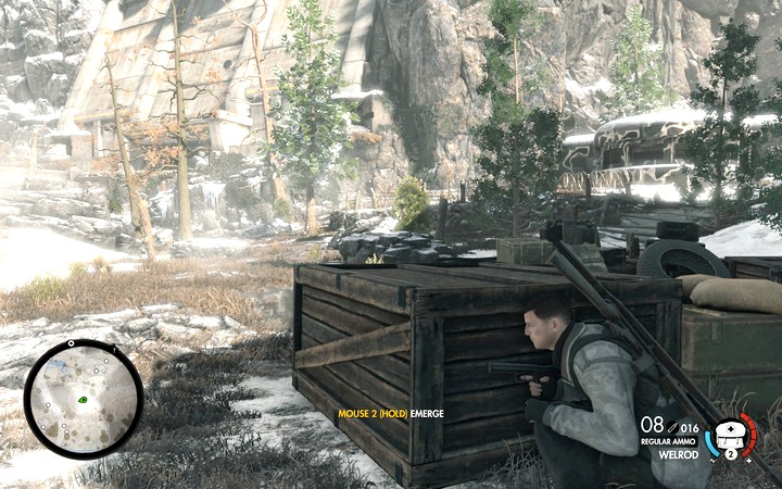 Inside the bunker, there is only one opponent. Another one is outside. - Base entrance | Mission 8: Allagra Fortress - Mission 8: Allagra Fortress - Sniper Elite 4 Game Guide
