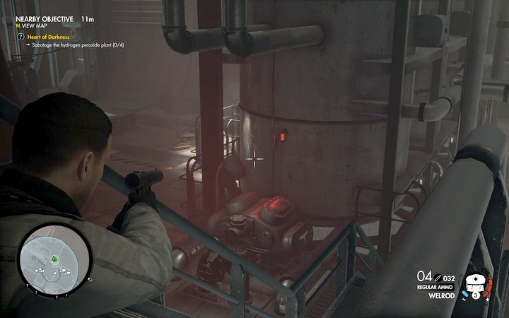 Turn the valve on the big tank to damage it - The safe and the first tank | Mission 8: Allagra Fortress - Mission 8: Allagra Fortress - Sniper Elite 4 Game Guide