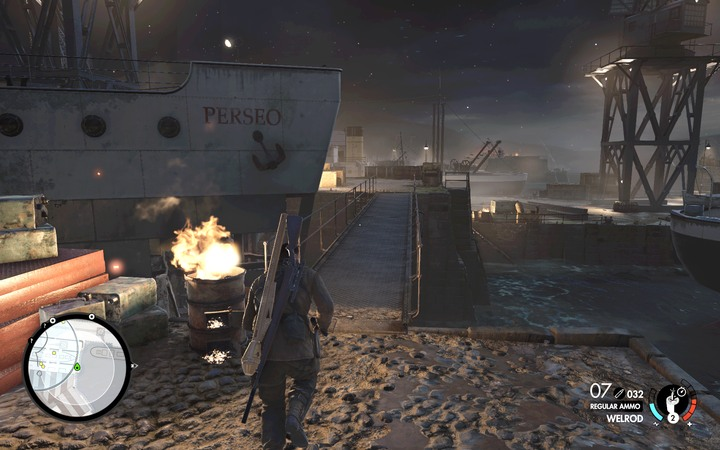 Run from the warehouse to the center of the harbor and then to the marked building - Learn about the content of the shipments | Mission 4: Lorino Dockyard - Mission 4: Lorino Dockyard - Sniper Elite 4 Game Guide