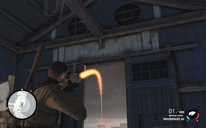 You can directly hit the cannon from the inside of the blue building - The second anti-aircraft cannon / the third floodlight | Mission 4: Lorino Dockyard - Mission 4: Lorino Dockyard - Sniper Elite 4 Game Guide