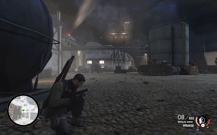 When you get rid of the cannon, go to the road - The second anti-aircraft cannon / the third floodlight | Mission 4: Lorino Dockyard - Mission 4: Lorino Dockyard - Sniper Elite 4 Game Guide