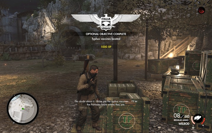 Approach the crates to complete the objective - The vaccine and shipments target destination | Mission 4: Lorino Dockyard - Mission 4: Lorino Dockyard - Sniper Elite 4 Game Guide
