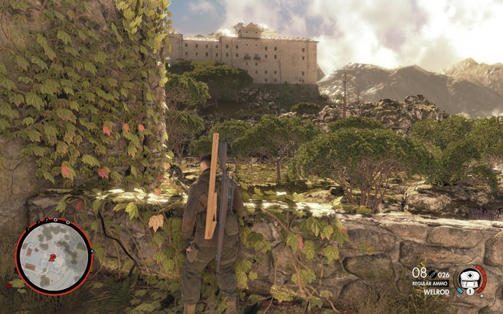You cant immediately go to the monastery - this is one of few missions where you must clear a certain place from enemies - Mission information | Mission 5: Abrunza Monastery - Mission 5: Abrunza Monastery - Sniper Elite 4 Game Guide