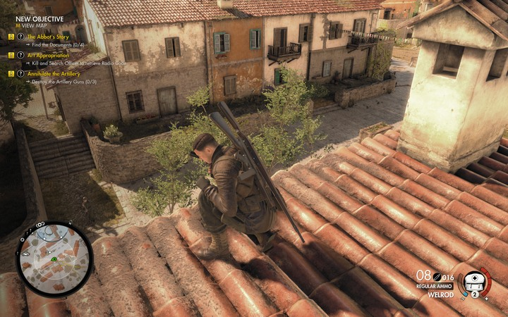 Remember to go down from the roofs to balconies or lower roofs - The first document and radio codes | Mission 5: Abrunza Monastery - Mission 5: Abrunza Monastery - Sniper Elite 4 Game Guide