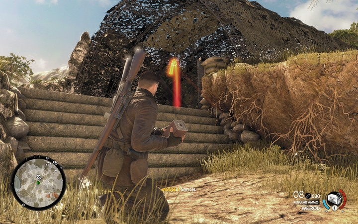 TNT with delay-action fuse - it doesnt matter if it kills someone, what matters is that it destroys a cannon - The first cannon and radio station | Mission 5: Abrunza Monastery - Mission 5: Abrunza Monastery - Sniper Elite 4 Game Guide