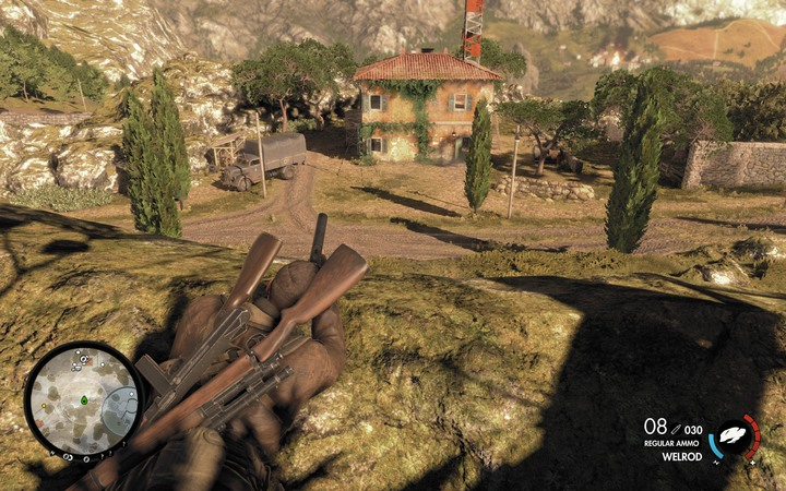The radio station is not an easy target (M5,7) - The first cannon and radio station | Mission 5: Abrunza Monastery - Mission 5: Abrunza Monastery - Sniper Elite 4 Game Guide