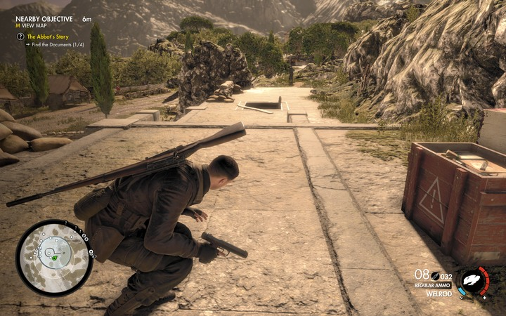 Be careful when you go to the bunker - someone on the street can notice you - The second document and Panzerfaust | Mission 5: Abrunza Monastery - Mission 5: Abrunza Monastery - Sniper Elite 4 Game Guide
