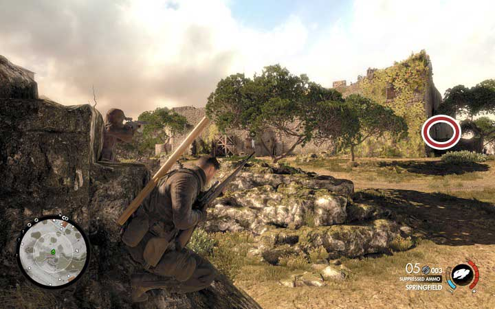 The safest way to get to the fort is to approach it from the west - Fights on the hill and the second cannon | Mission 5: Abrunza Monastery - Mission 5: Abrunza Monastery - Sniper Elite 4 Game Guide