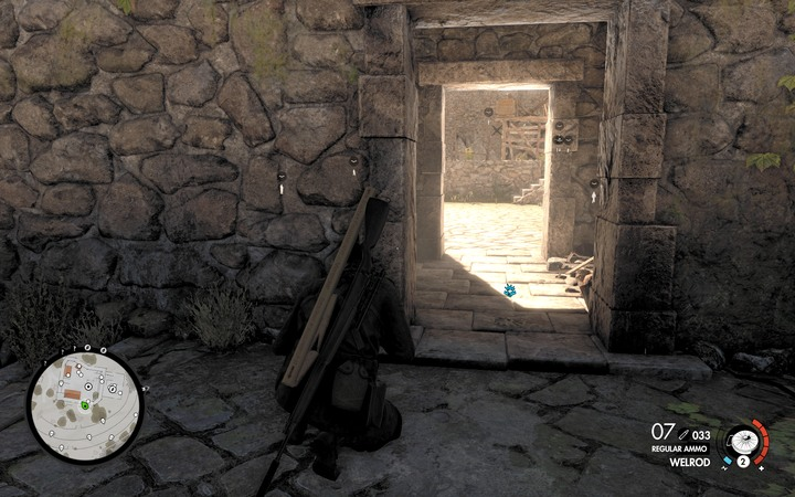 Get to the northern part of the hill and get near the ruins - Fights on the hill and the second cannon | Mission 5: Abrunza Monastery - Mission 5: Abrunza Monastery - Sniper Elite 4 Game Guide