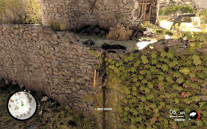 If you made a lot of noise then you can get to the cannon from the outside and eliminate the guards by a surprise attack - Fights on the hill and the second cannon | Mission 5: Abrunza Monastery - Mission 5: Abrunza Monastery - Sniper Elite 4 Game Guide