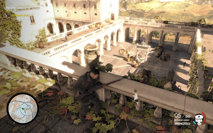 Be careful when you look over the balustrade - someone can notice you and you dont want this to happen... - Capo and the last two documents | Mission 5: Abrunza Monastery - Mission 5: Abrunza Monastery - Sniper Elite 4 Game Guide