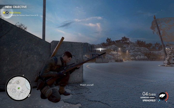 The snipers are in the second section of the base but they keep an eye on everything - Mission information | Mission 6: Magazzeno Facility - Mission 6: Magazzeno Facility - Sniper Elite 4 Game Guide