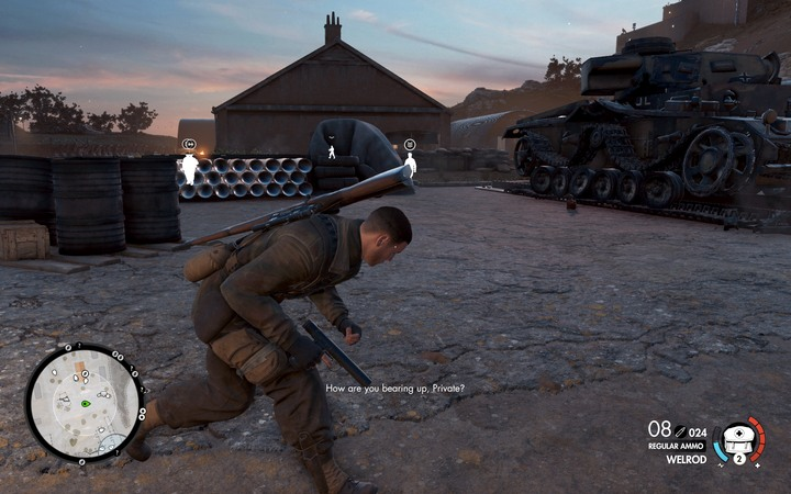Run behind the cars and wait for the right moment to enter the building - The first document | Mission 6: Magazzeno Facility - Mission 6: Magazzeno Facility - Sniper Elite 4 Game Guide