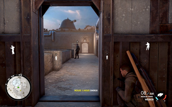 Use the balcony to enter the office - The first cannon and deciphers center | Mission 6: Magazzeno Facility - Mission 6: Magazzeno Facility - Sniper Elite 4 Game Guide