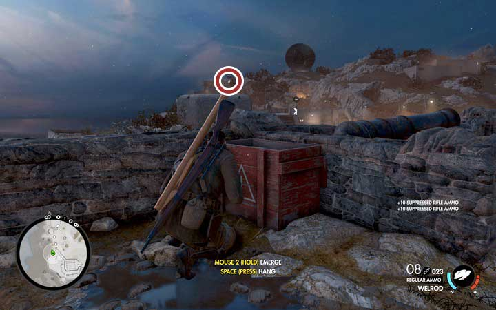 The suppressing rifle ammo can be found near the descent - The second, third and fourth coastal cannon | Mission 6: Magazzeno Facility - Mission 6: Magazzeno Facility - Sniper Elite 4 Game Guide