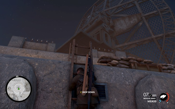 If you want to detonate the cannon, you must use the ladder to get on the bunkers roof - The second document, the antenna and the fifth cannon | Mission 6: Magazzeno Facility - Mission 6: Magazzeno Facility - Sniper Elite 4 Game Guide