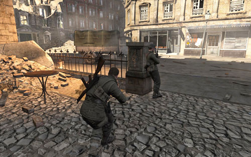 Right at the beginning you will get the chance to kill the first soldier silently - if you care about points, you should consider using the pistol for that - Mission 1 - Schoneberg Convoy - p. 1 - Walkthrough - Sniper Elite V2 Game Guide & Walkthrough