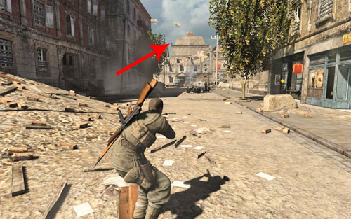 Wait for one of the enemies to enter a building - Mission 1 - Schoneberg Convoy - p. 1 - Walkthrough - Sniper Elite V2 Game Guide & Walkthrough