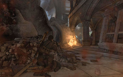 Inside the church you will come across three soldiers guarding this area, you should especially look out for the one by the barriers on the upper floor - Mission 5 - St. Olibartus Church - p. 2 - Walkthrough - Sniper Elite V2 Game Guide & Walkthrough