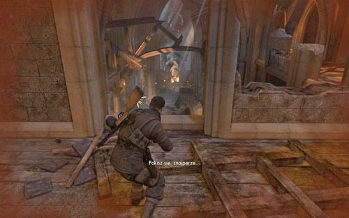 Start going down very slowly - try to shoot as many enemies as possible while still at the higher position - Mission 5 - St. Olibartus Church - p. 2 - Walkthrough - Sniper Elite V2 Game Guide & Walkthrough