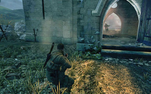 Once you're certain you've killed everyone, head into the church - there are two enemies inside - Mission 9 - Koepenick Launch Site - Walkthrough - Sniper Elite V2 - Game Guide and Walkthrough