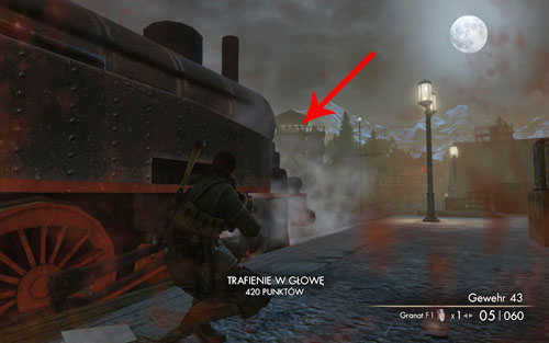 Carefully lean out from behind the locomotive - in the distance you should note a tower with a sniper on it - DLC - Assassinate the Fuhrer - Walkthrough - Sniper Elite V2 Game Guide & Walkthrough