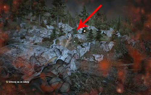 Whatever tactic you use, the only one who will get alarmed is the sniper camping on the stone ledge behind the bushes - DLC - Assassinate the Fuhrer - Walkthrough - Sniper Elite V2 Game Guide & Walkthrough
