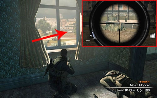 After obtaining a new sniper rifle, look out one of the windows - in the distance you should see a small square beneath a dome [#3] with two soldiers on it - Mission 3 | Wine Bottles and Gold Bars - Wine Bottles and Gold Bars - Sniper Elite V2 Game Guide & Walkthrough