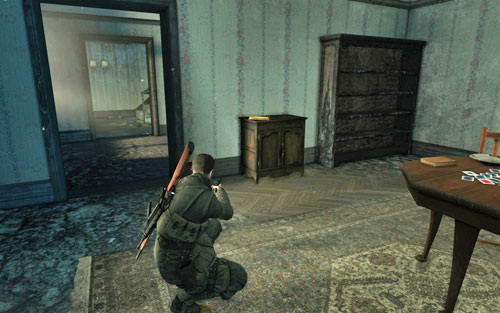 In the first room to the right, inside the building which you have to enter as your first objective [#2] - Mission 3 | Wine Bottles and Gold Bars - Wine Bottles and Gold Bars - Sniper Elite V2 Game Guide & Walkthrough