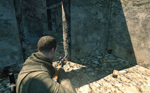Inside the ruined building on the right - head inside through the main entrance and pass by the stairs - Mission 3 | Wine Bottles and Gold Bars - Wine Bottles and Gold Bars - Sniper Elite V2 Game Guide & Walkthrough