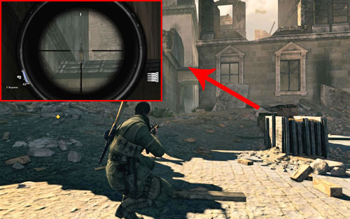 The bottle can be found at the very beginning of a narrow alley [#1] which you have to enter at the beginning - Mission 4 - Wine Bottles and Gold Bars - Sniper Elite V2 - Game Guide and Walkthrough