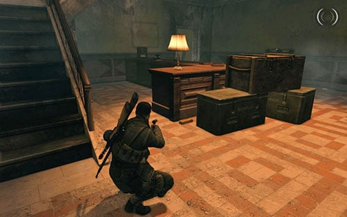 After you enter the building, right beside the counter by the crates [#2] - Mission 4 - Wine Bottles and Gold Bars - Sniper Elite V2 - Game Guide and Walkthrough