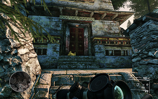 On the stairs by the entrance to the building in front of you, after you run up the road (after choosing the path going right), after clearing the gas tank location - No Loose Ends - Secrets - act 3 - Sniper: Ghost Warrior 2 - Game Guide and Walkthrough