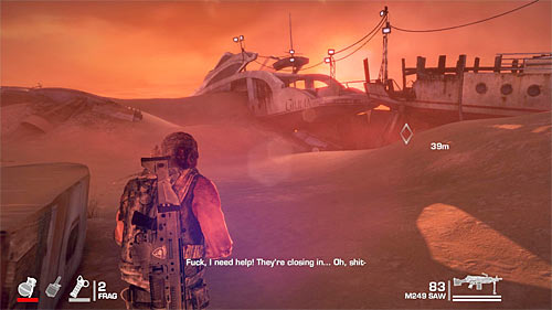 Leave the yacht and follow Adams to the place indicated by the game (screen above) - Chapter XIII - Adams - p. 2 - Game Walkthrough - Spec Ops: The Line - Game Guide and Walkthrough